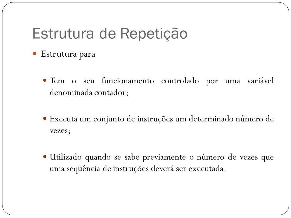 Estrutura de Repetição Estrutura para Tem o seu funcionamento controlado por uma variável denominada contador; Executa um conjunto de instruções um de