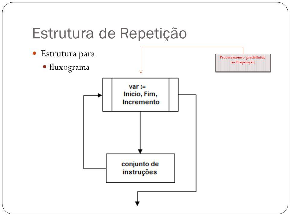 Estrutura de Repetição Estrutura para fluxograma Processamento predefinido ou Preparação