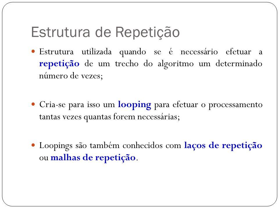 Estrutura de Repetição Estrutura utilizada quando se é necessário efetuar a repetição de um trecho do algoritmo um determinado número de vezes; Cria-s