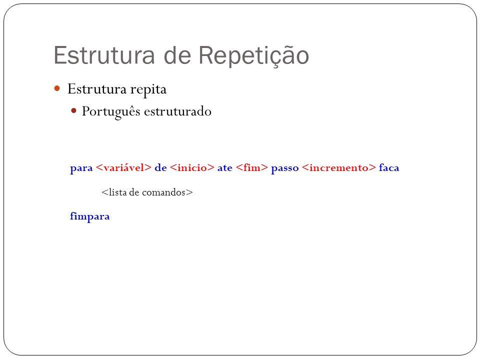 Estrutura de Repetição Estrutura repita Português estruturado para de ate passo faca fimpara
