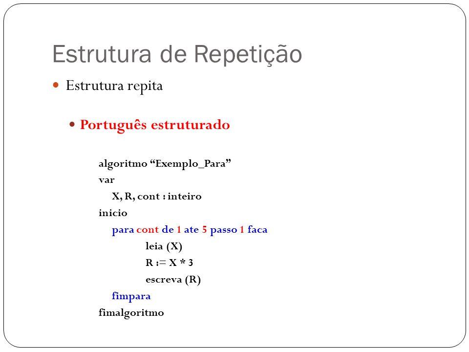 Estrutura de Repetição Estrutura repita Português estruturado algoritmo Exemplo_Para var X, R, cont : inteiro inicio para cont de 1 ate 5 passo 1 faca