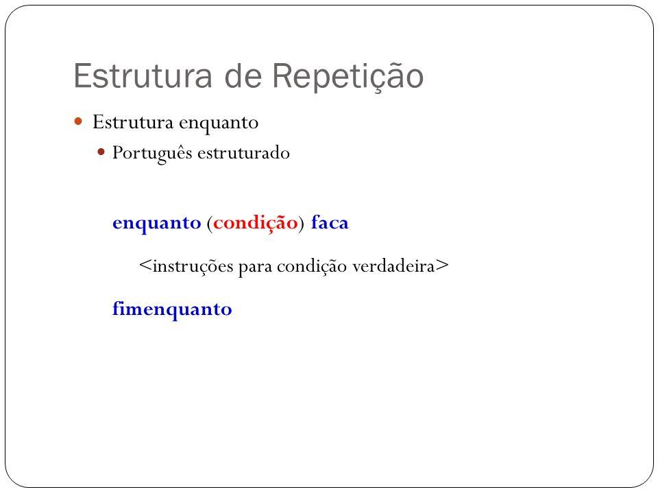 Estrutura de Repetição Estrutura enquanto Português estruturado enquanto (condição) faca fimenquanto