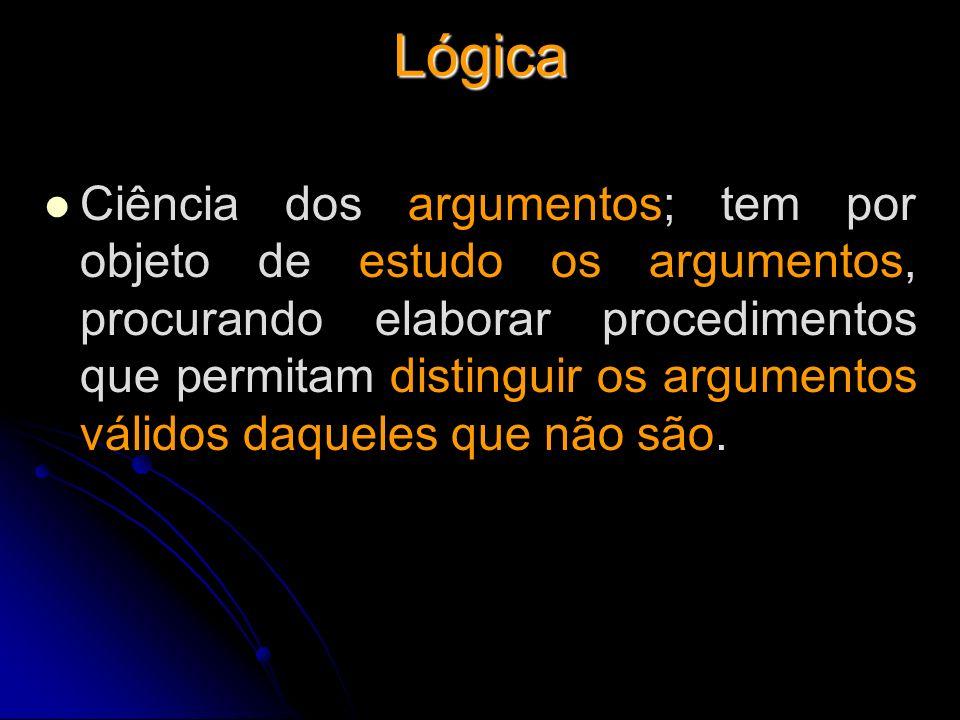 Lógica Ciência dos argumentos; tem por objeto de estudo os argumentos, procurando elaborar procedimentos que permitam distinguir os argumentos válidos