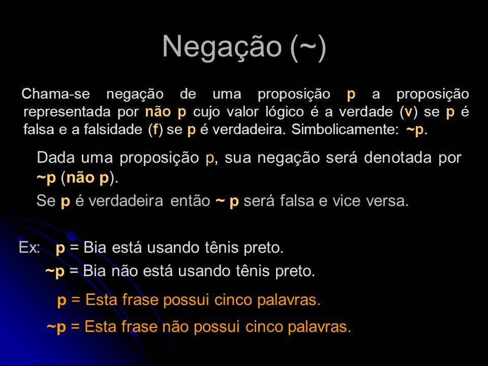 Negação (~) Dada uma proposição p, sua negação será denotada por ~p (não p). Se p é verdadeira então ~ p será falsa e vice versa. Ex: p = Bia está usa
