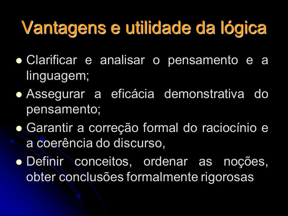 Vantagens e utilidade da lógica Clarificar e analisar o pensamento e a linguagem; Assegurar a eficácia demonstrativa do pensamento; Garantir a correçã
