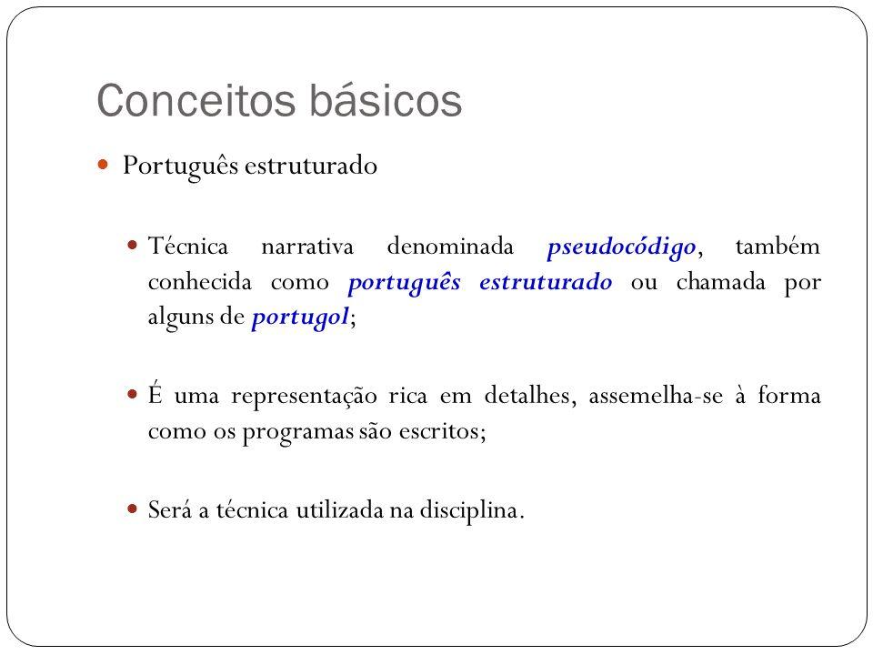 Conceitos básicos Português estruturado Técnica narrativa denominada pseudocódigo, também conhecida como português estruturado ou chamada por alguns de portugol; É uma representação rica em detalhes, assemelha-se à forma como os programas são escritos; Será a técnica utilizada na disciplina.