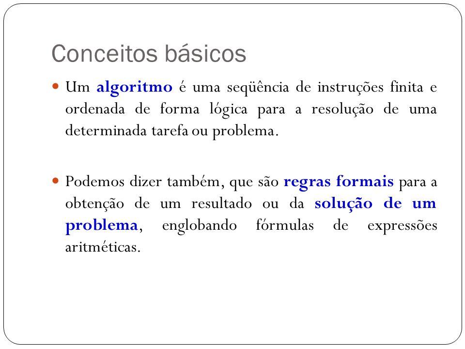 Conceitos básicos Um algoritmo é uma seqüência de instruções finita e ordenada de forma lógica para a resolução de uma determinada tarefa ou problema.