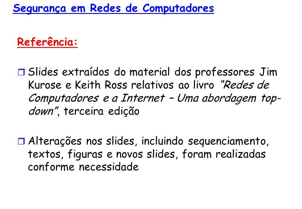 8 © 2005 by Pearson Education 8 - 22 RSA: Por que: m = (m modn) e modn d (m mod n) e mod n = m mod n d ed Resultado da teoria dos números: Se p,q são primos, n = pq, então x mod n = x mod n yy mod (p-1)(q-1) = m mod n ed mod (p-1)(q-1) = m mod n 1 = m (usando o teorema apresentado acima) (pois nós escolhemos ed divisível por (p-1)(q-1) com resto 1 )