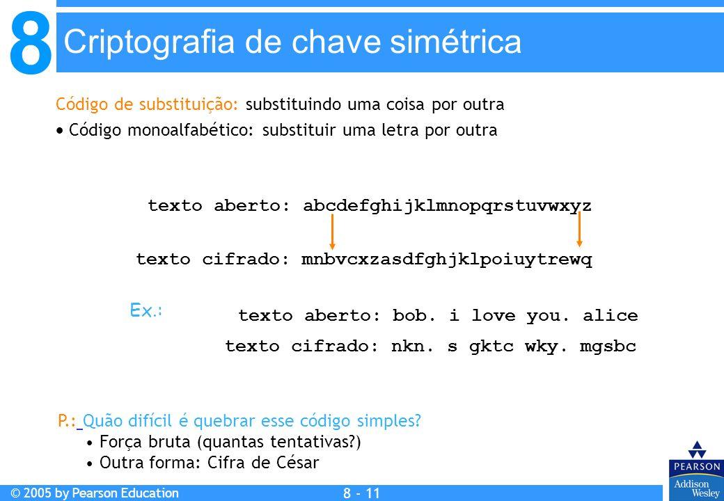 8 © 2005 by Pearson Education 8 - 11 Criptografia de chave simétrica Código de substituição: substituindo uma coisa por outra Código monoalfabético: substituir uma letra por outra texto aberto: abcdefghijklmnopqrstuvwxyz texto cifrado: mnbvcxzasdfghjklpoiuytrewq texto aberto: bob.
