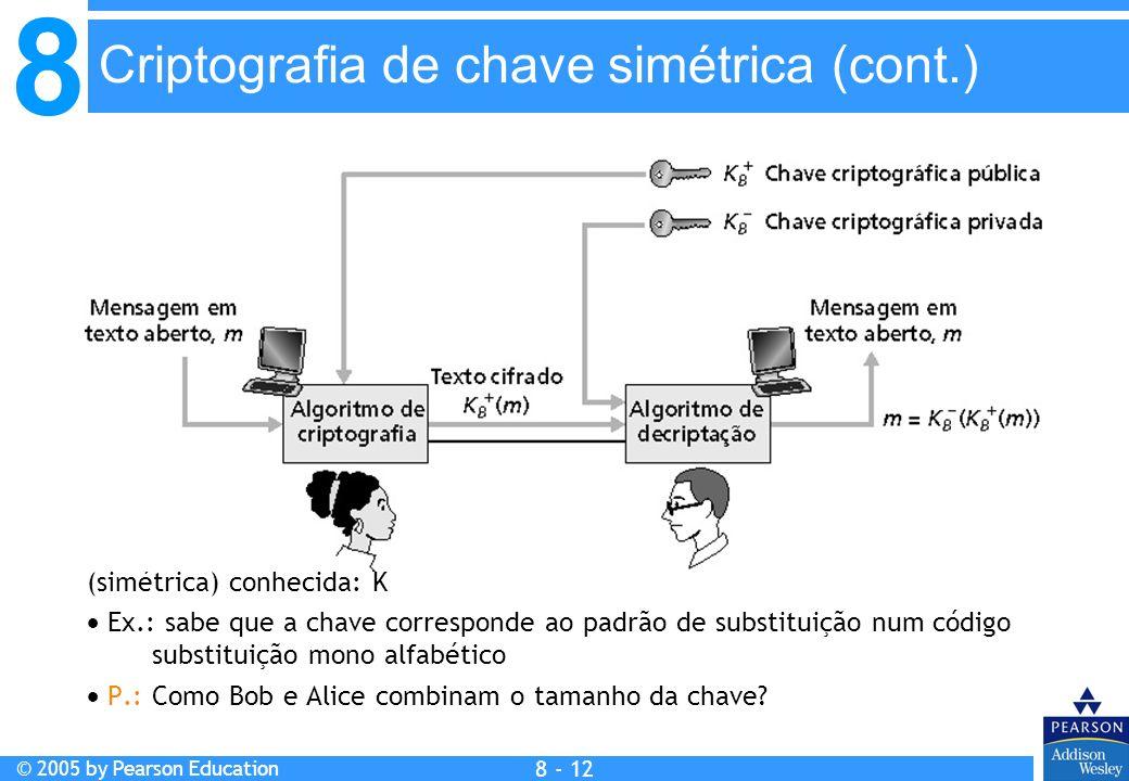 8 © 2005 by Pearson Education 8 - 12 Criptografia de chave simétrica (cont.) Criptografia de chave simétrica: Bob e Alice compartilham a mesma chave (simétrica) conhecida: K Ex.: sabe que a chave corresponde ao padrão de substituição num código substituição mono alfabético P.: Como Bob e Alice combinam o tamanho da chave.