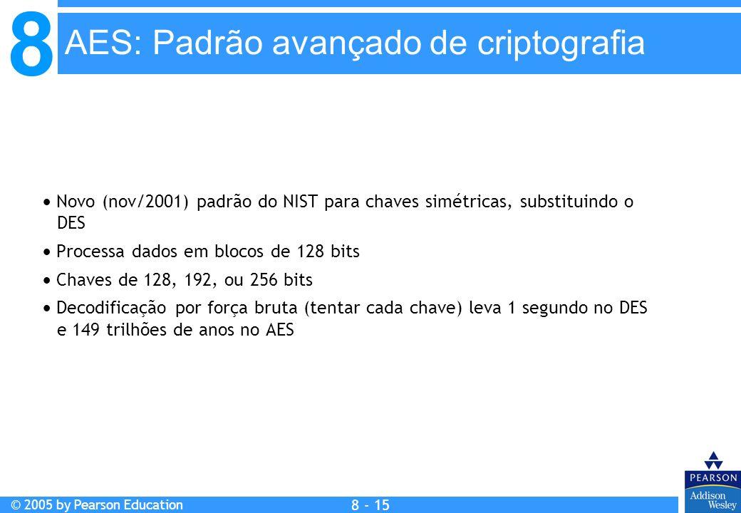 8 © 2005 by Pearson Education 8 - 15 AES: Padrão avançado de criptografia Novo (nov/2001) padrão do NIST para chaves simétricas, substituindo o DES Processa dados em blocos de 128 bits Chaves de 128, 192, ou 256 bits Decodificação por força bruta (tentar cada chave) leva 1 segundo no DES e 149 trilhões de anos no AES