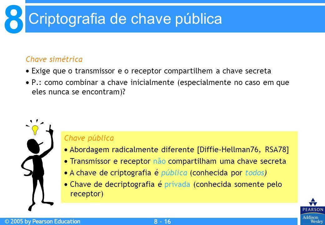 8 © 2005 by Pearson Education 8 - 16 Criptografia de chave pública Chave simétrica Exige que o transmissor e o receptor compartilhem a chave secreta P.: como combinar a chave inicialmente (especialmente no caso em que eles nunca se encontram).