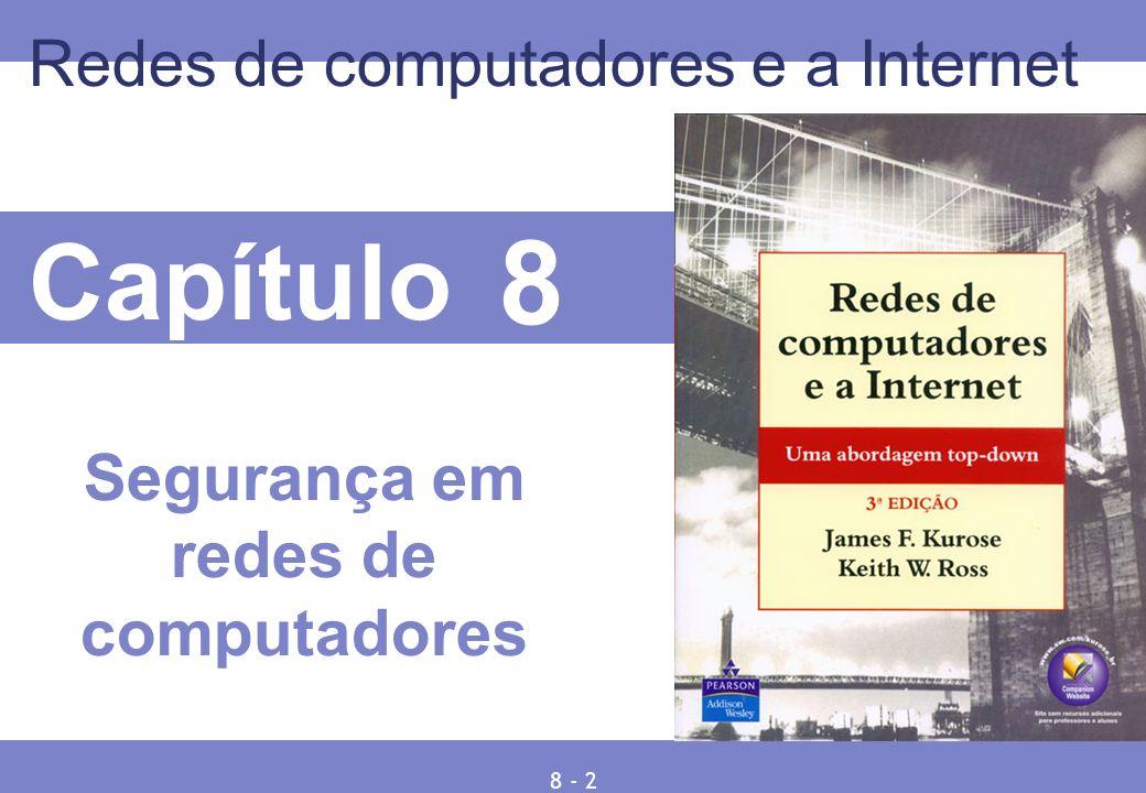 8 © 2005 by Pearson Education 8 - 83 802.11i: segurança melhorada Numerosas (e mais fortes) forma de criptografia são possíveis Oferece distribuição de chave Usa autenticação de servidor separada do ponto de acesso