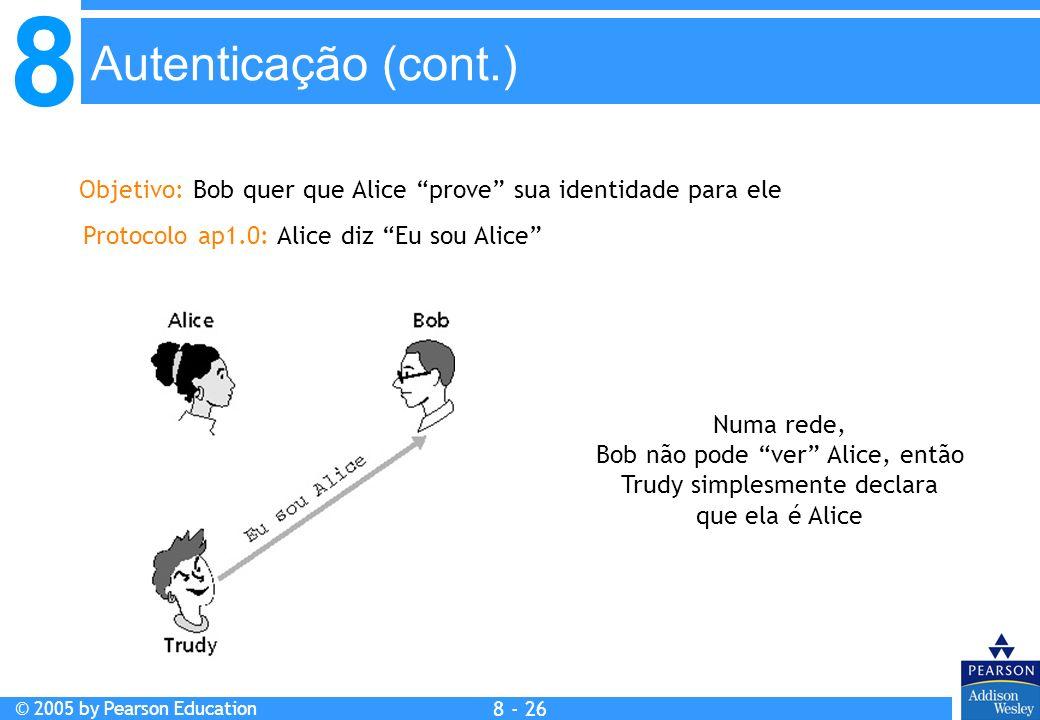 8 © 2005 by Pearson Education 8 - 26 Autenticação (cont.) Objetivo: Bob quer que Alice prove sua identidade para ele Protocolo ap1.0: Alice diz Eu sou Alice Numa rede, Bob não pode ver Alice, então Trudy simplesmente declara que ela é Alice