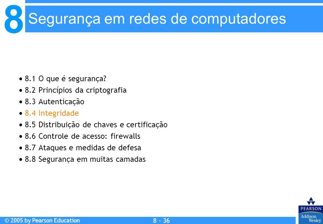8 © 2005 by Pearson Education 8 - 36 Segurança em redes de computadores 8.1 O que é segurança.