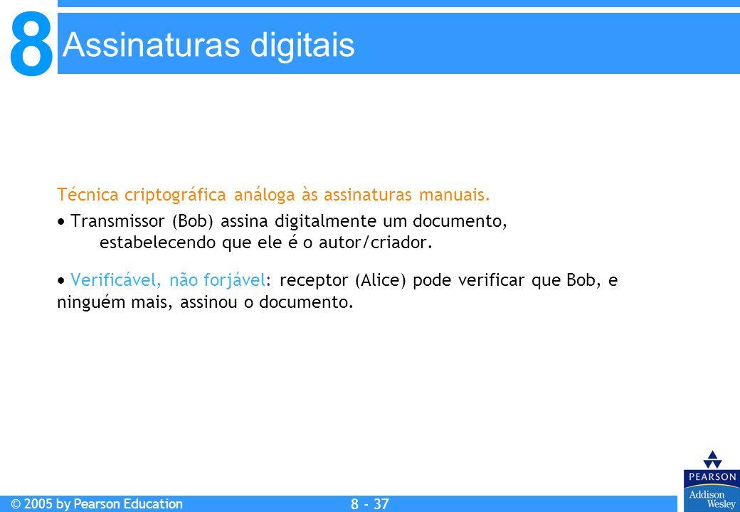 8 © 2005 by Pearson Education 8 - 37 Assinaturas digitais Técnica criptográfica análoga às assinaturas manuais.