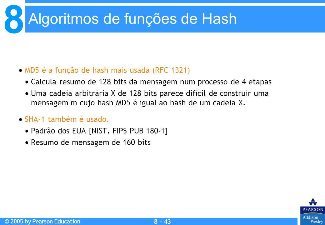 8 © 2005 by Pearson Education 8 - 43 Algoritmos de funções de Hash MD5 é a função de hash mais usada (RFC 1321) Calcula resumo de 128 bits da mensagem num processo de 4 etapas Uma cadeia arbitrária X de 128 bits parece difícil de construir uma mensagem m cujo hash MD5 é igual ao hash de um cadeia X.