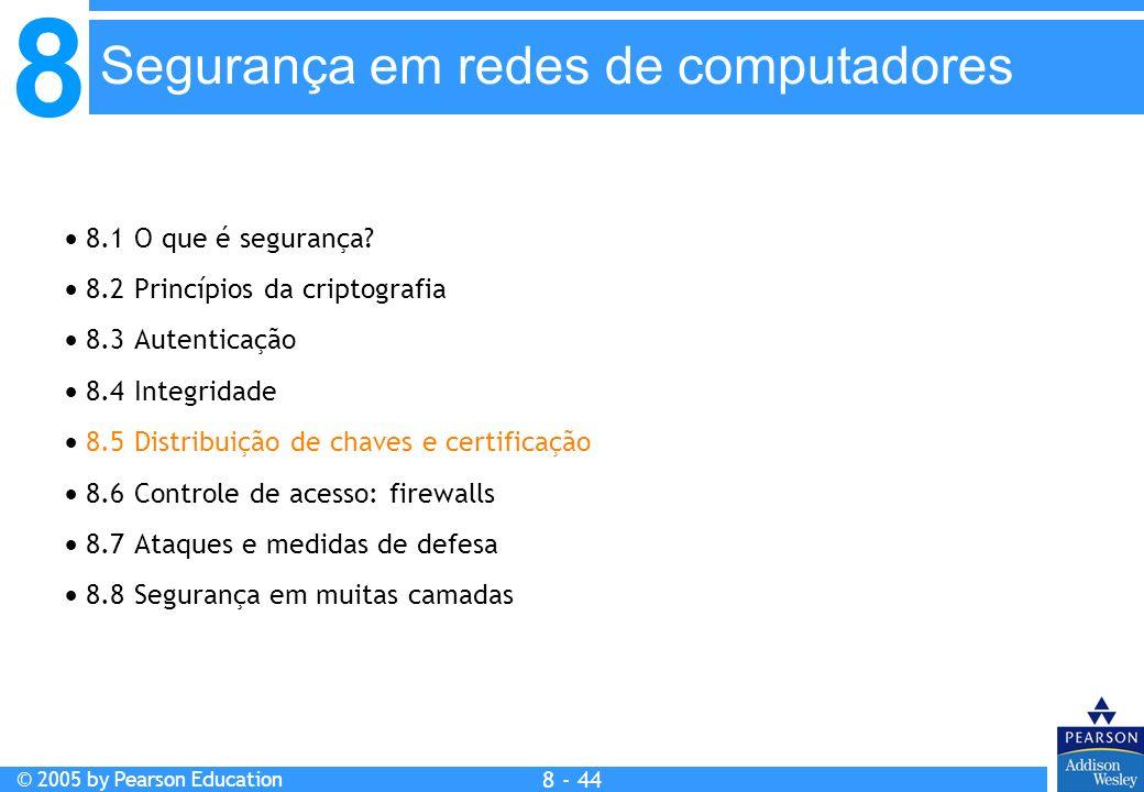 8 © 2005 by Pearson Education 8 - 44 Segurança em redes de computadores 8.1 O que é segurança.