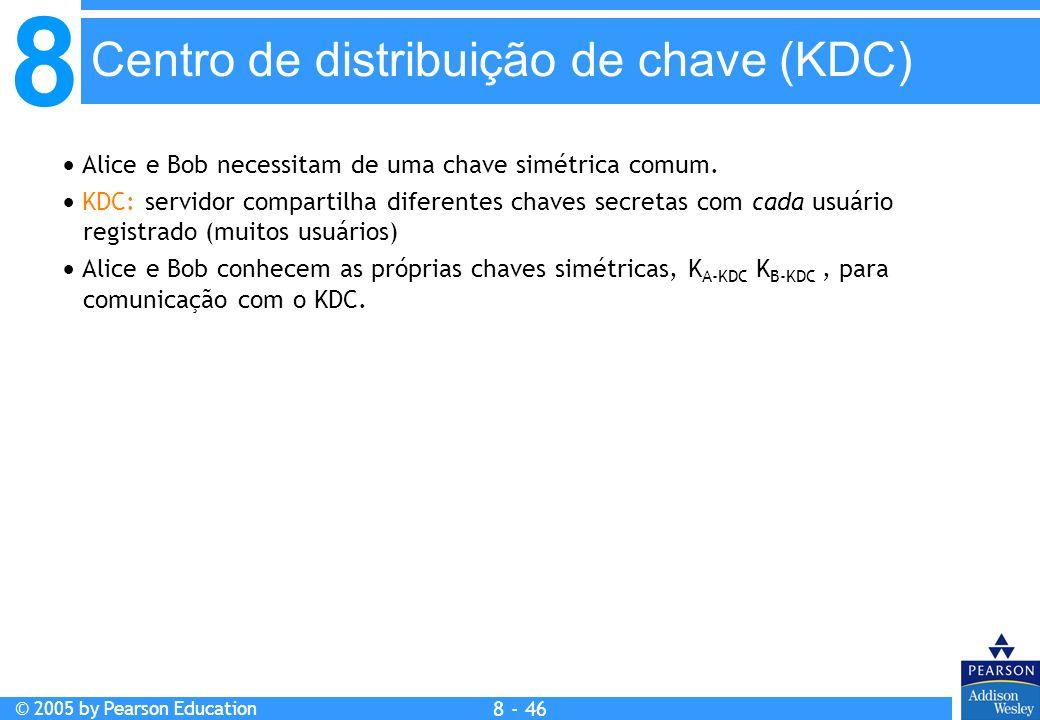 8 © 2005 by Pearson Education 8 - 46 Centro de distribuição de chave (KDC) Alice e Bob necessitam de uma chave simétrica comum.