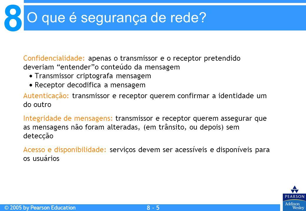 8 © 2005 by Pearson Education 8 - 5 O que é segurança de rede.