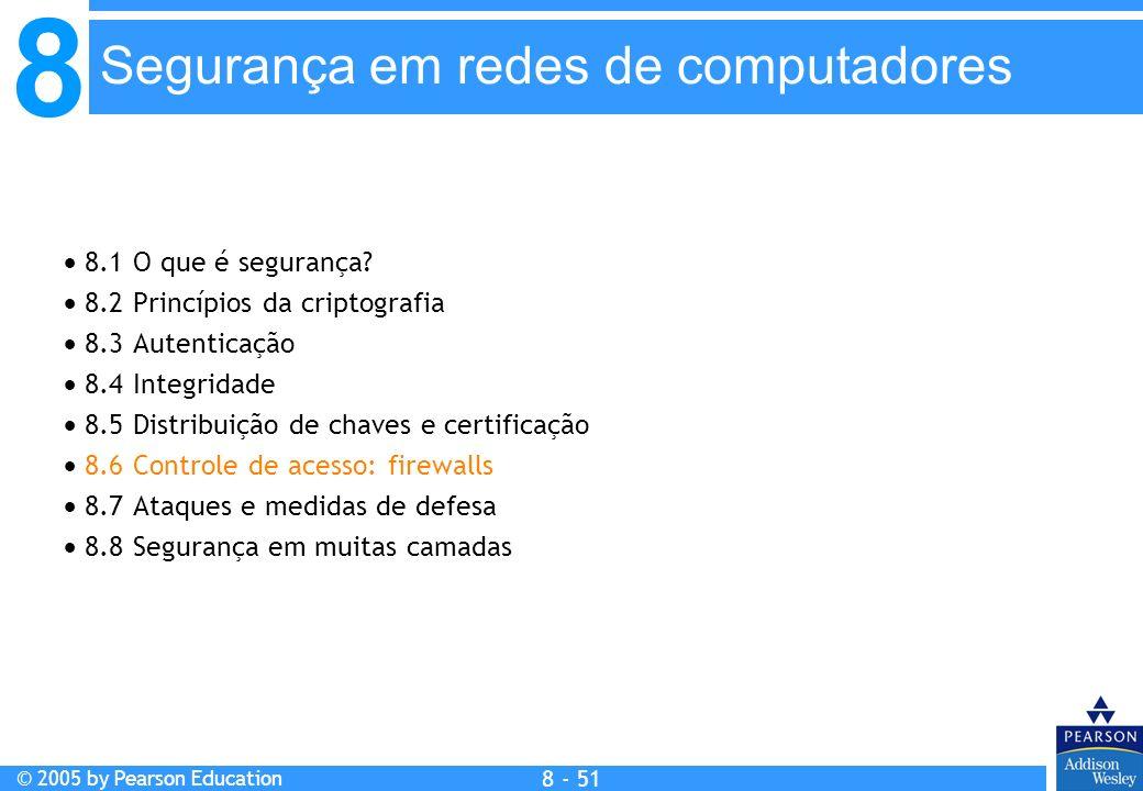 8 © 2005 by Pearson Education 8 - 51 Segurança em redes de computadores 8.1 O que é segurança.