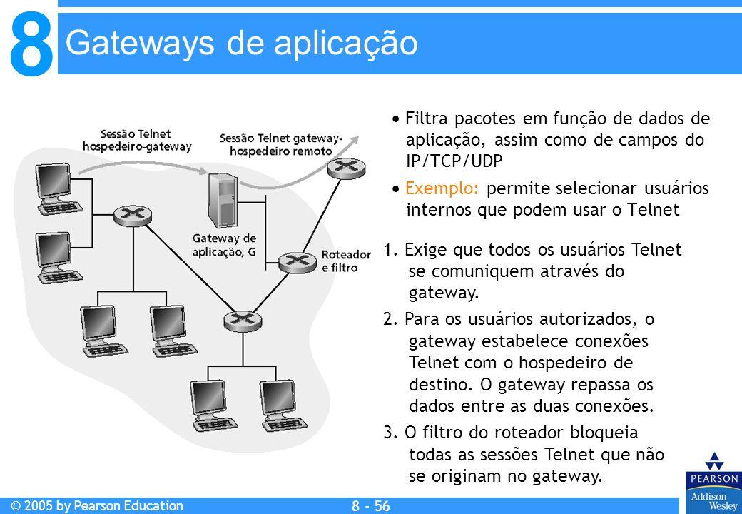 8 © 2005 by Pearson Education 8 - 56 Gateways de aplicação Filtra pacotes em função de dados de aplicação, assim como de campos do IP/TCP/UDP Exemplo: permite selecionar usuários internos que podem usar o Telnet 1.
