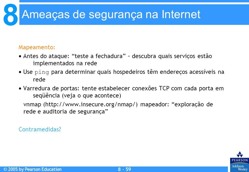8 © 2005 by Pearson Education 8 - 59 Ameaças de segurança na Internet Mapeamento: Antes do ataque: teste a fechadura – descubra quais serviços estão implementados na rede Use ping para determinar quais hospedeiros têm endereços acessíveis na rede Varredura de portas: tente estabelecer conexões TCP com cada porta em seqüência (veja o que acontece) vnmap (http://www.insecure.org/nmap/) mapeador: exploração de rede e auditoria de segurança Contramedidas?