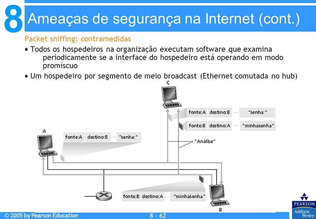 8 © 2005 by Pearson Education 8 - 62 Ameaças de segurança na Internet (cont.) Packet sniffing: contramedidas Todos os hospedeiros na organização executam software que examina periodicamente se a interface do hospedeiro está operando em modo promíscuo Um hospedeiro por segmento de meio broadcast (Ethernet comutada no hub)