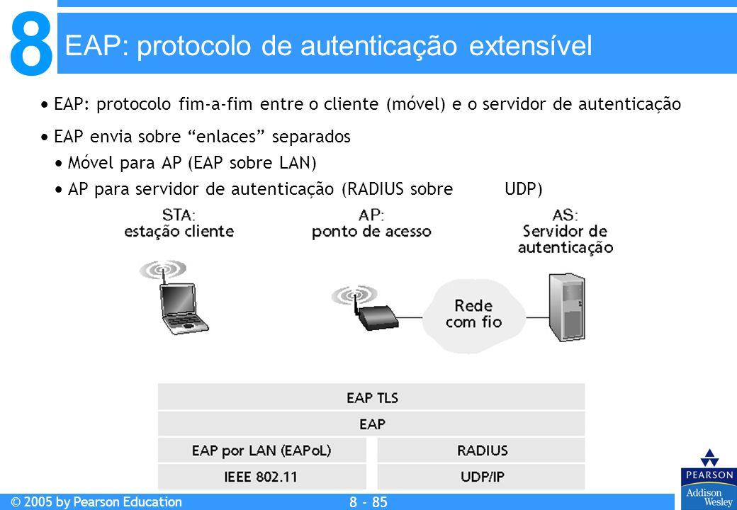 8 © 2005 by Pearson Education 8 - 85 EAP: protocolo de autenticação extensível EAP: protocolo fim-a-fim entre o cliente (móvel) e o servidor de autenticação EAP envia sobre enlaces separados Móvel para AP (EAP sobre LAN) AP para servidor de autenticação (RADIUS sobre UDP)