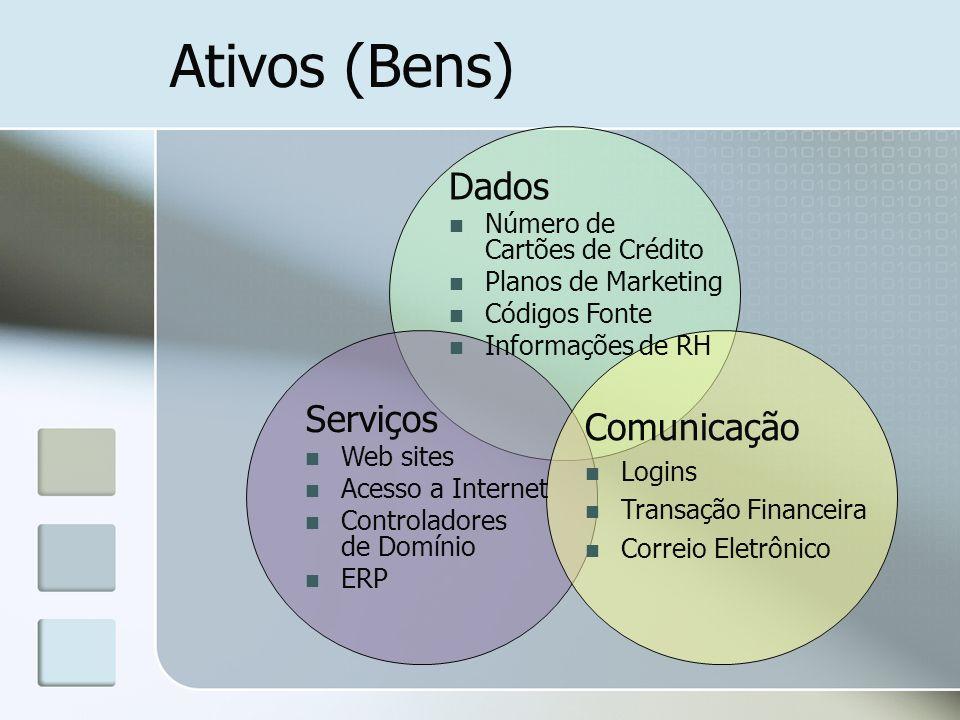 Ativos (Bens) Dados Número de Cartões de Crédito Planos de Marketing Códigos Fonte Informações de RH Serviços Web sites Acesso a Internet Controladore