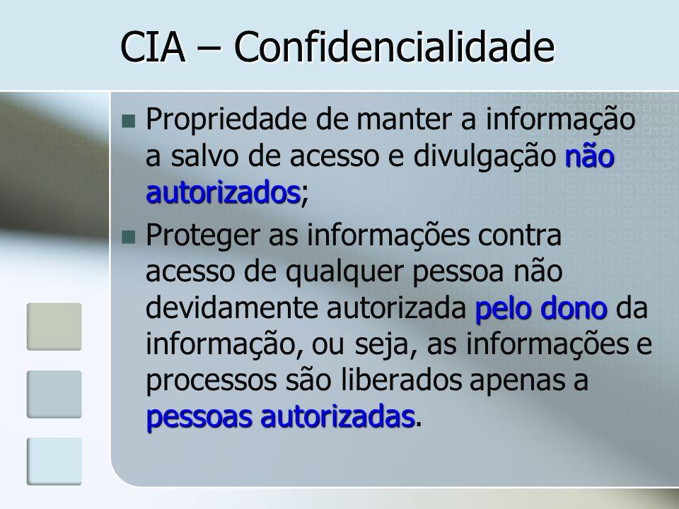 CIA – Confidencialidade não autorizados Propriedade de manter a informação a salvo de acesso e divulgação não autorizados; pelo dono pessoas autorizad