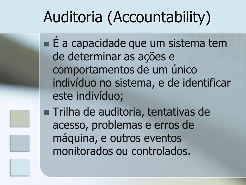 Auditoria (Accountability) É a capacidade que um sistema tem de determinar as ações e comportamentos de um único indivíduo no sistema, e de identifica