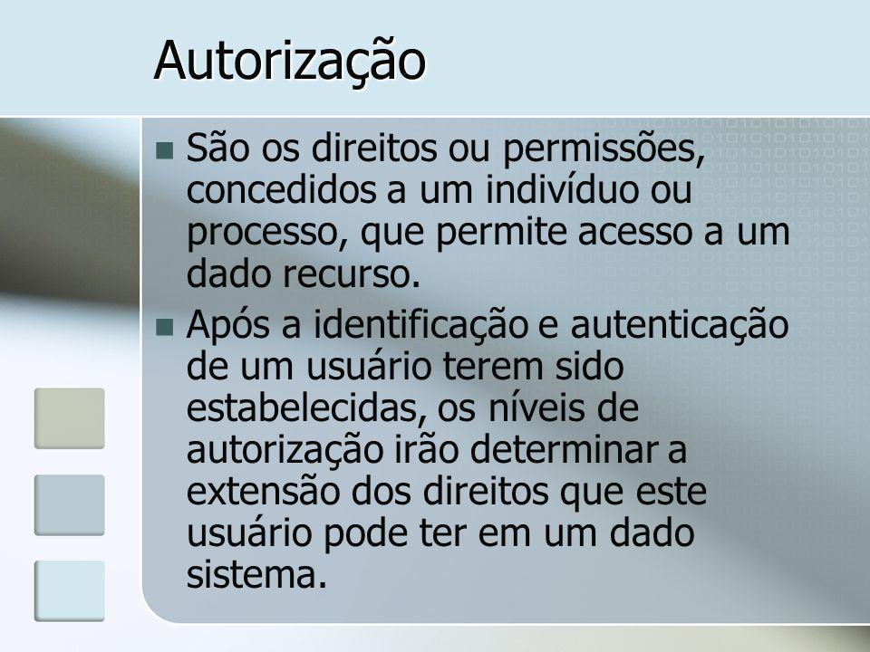 Autorização São os direitos ou permissões, concedidos a um indivíduo ou processo, que permite acesso a um dado recurso. Após a identificação e autenti