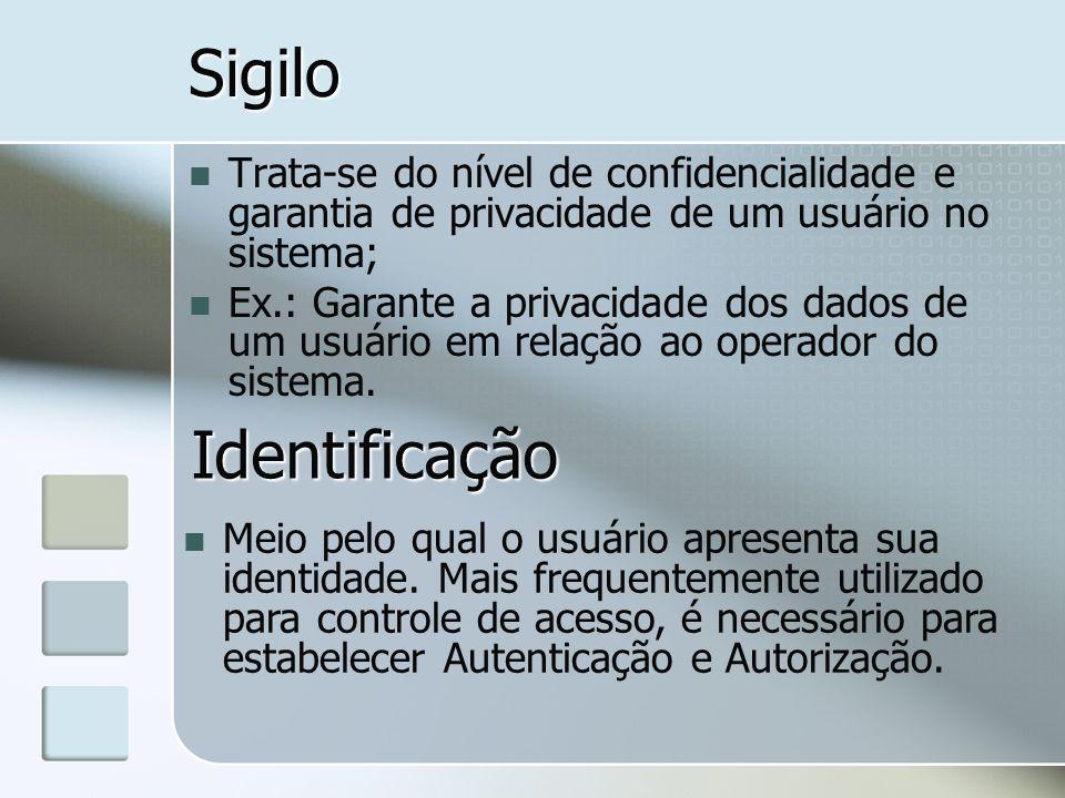 Sigilo Trata-se do nível de confidencialidade e garantia de privacidade de um usuário no sistema; Ex.: Garante a privacidade dos dados de um usuário e