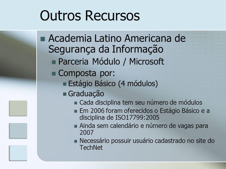 Outros Recursos Academia Latino Americana de Segurança da Informação Parceria Módulo / Microsoft Composta por: Estágio Básico (4 módulos) Graduação Ca