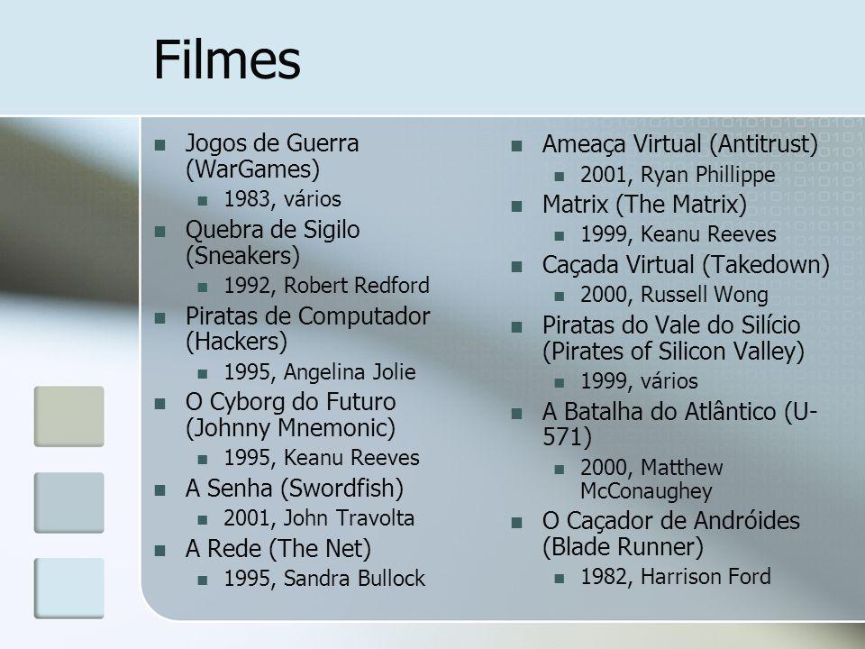 Filmes Jogos de Guerra (WarGames) 1983, vários Quebra de Sigilo (Sneakers) 1992, Robert Redford Piratas de Computador (Hackers) 1995, Angelina Jolie O