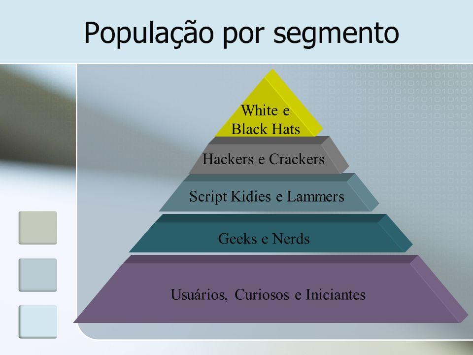 População por segmento Usuários, Curiosos e Iniciantes Geeks e Nerds Script Kidies e Lammers Hackers e Crackers White e Black Hats