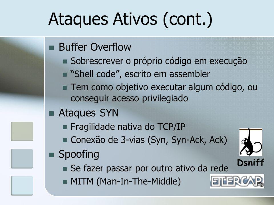 Ataques Ativos (cont.) Buffer Overflow Sobrescrever o próprio código em execução Shell code, escrito em assembler Tem como objetivo executar algum cód