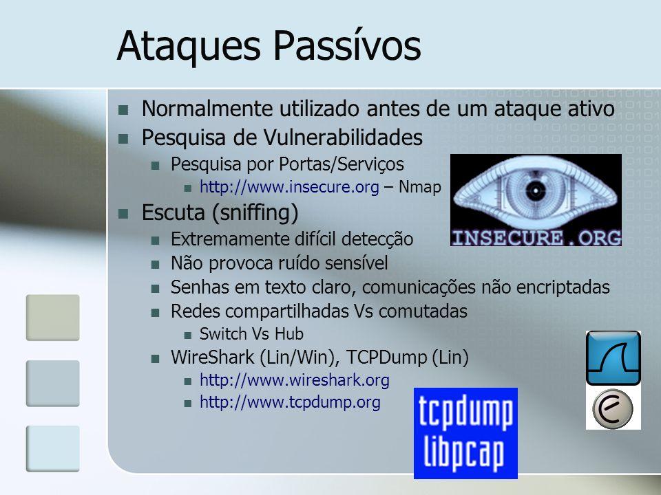 Ataques Passívos Normalmente utilizado antes de um ataque ativo Pesquisa de Vulnerabilidades Pesquisa por Portas/Serviços http://www.insecure.org – Nm