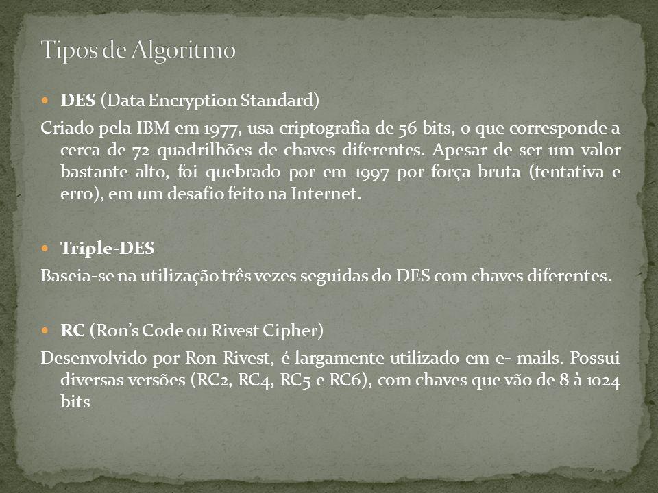 DES (Data Encryption Standard) Criado pela IBM em 1977, usa criptografia de 56 bits, o que corresponde a cerca de 72 quadrilhões de chaves diferentes.