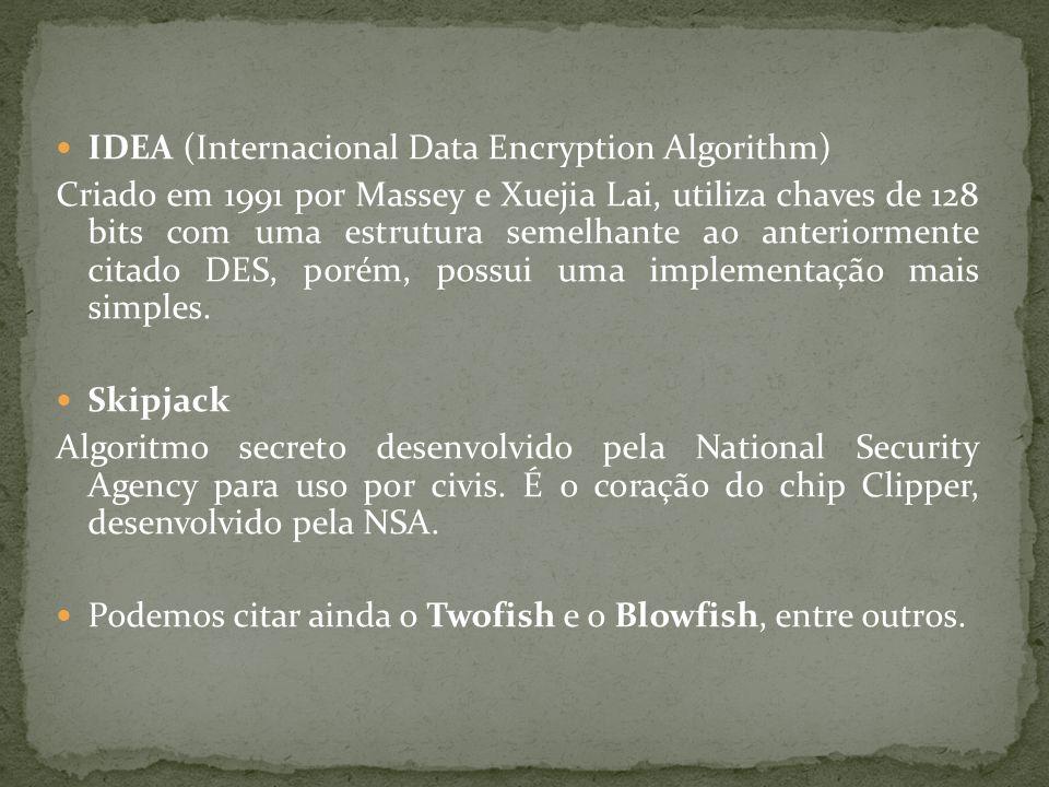 IDEA (Internacional Data Encryption Algorithm) Criado em 1991 por Massey e Xuejia Lai, utiliza chaves de 128 bits com uma estrutura semelhante ao ante
