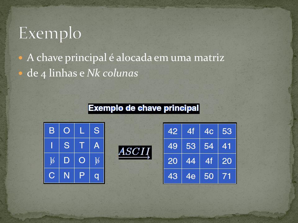 A chave principal é alocada em uma matriz de 4 linhas e Nk colunas
