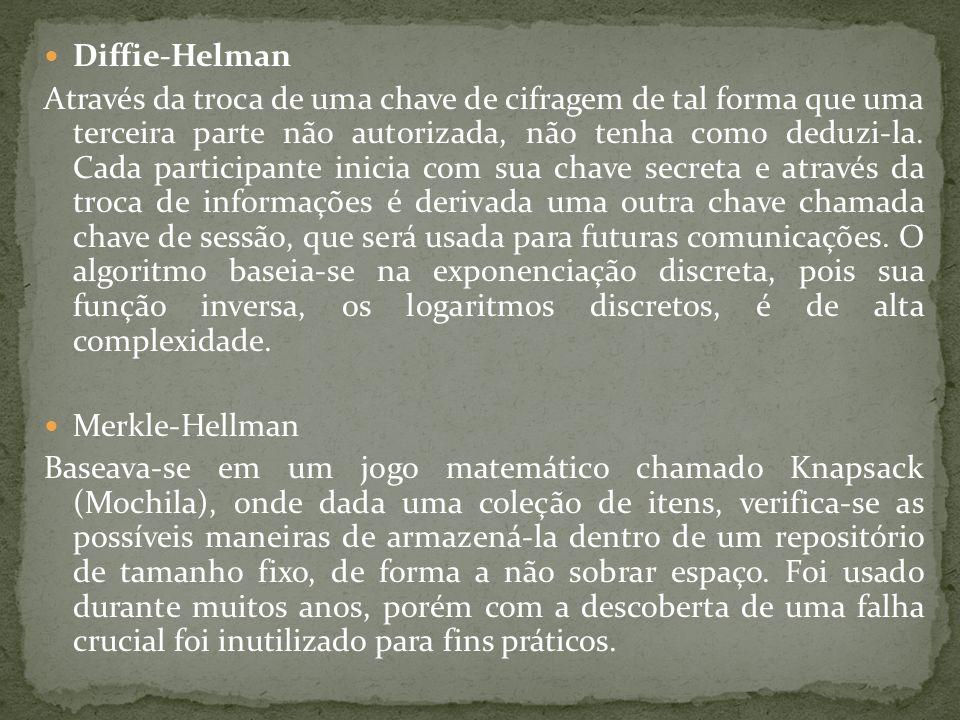 Diffie-Helman Através da troca de uma chave de cifragem de tal forma que uma terceira parte não autorizada, não tenha como deduzi-la. Cada participant