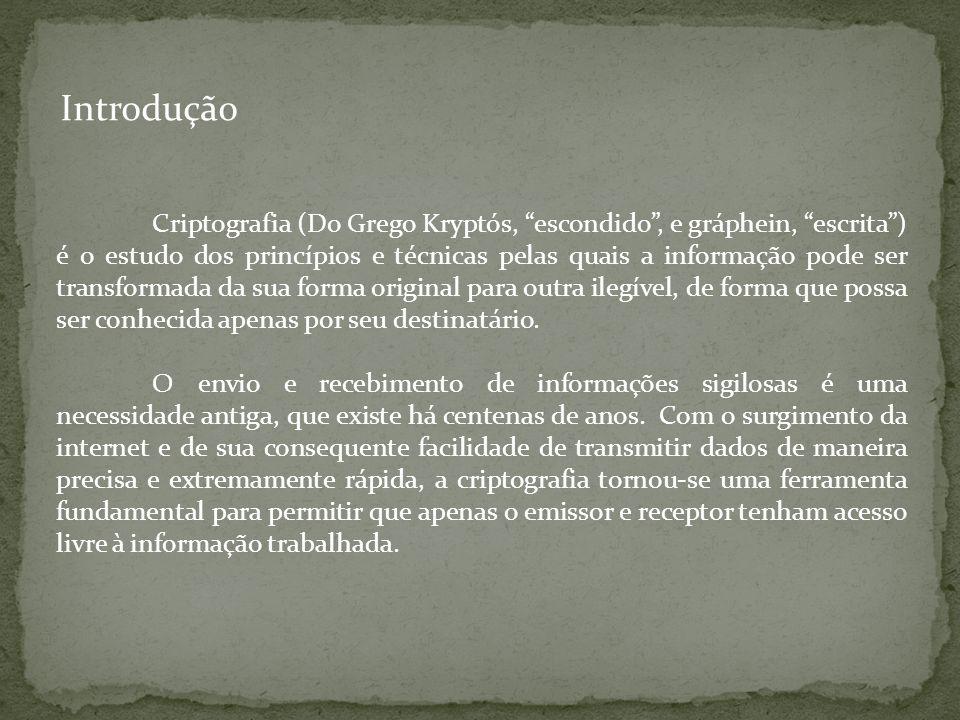 Introdução Criptografia (Do Grego Kryptós, escondido, e gráphein, escrita) é o estudo dos princípios e técnicas pelas quais a informação pode ser tran
