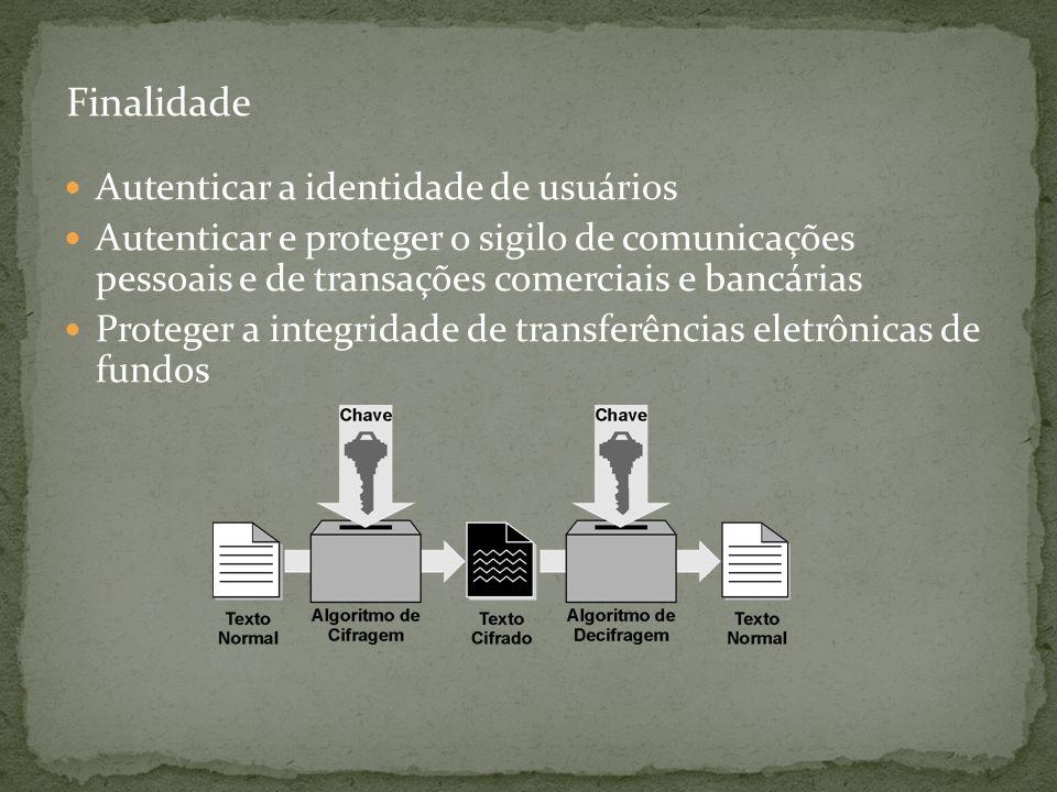 Autenticar a identidade de usuários Autenticar e proteger o sigilo de comunicações pessoais e de transações comerciais e bancárias Proteger a integrid