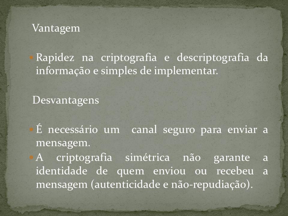 Vantagem Rapidez na criptografia e descriptografia da informação e simples de implementar. Desvantagens É necessário um canal seguro para enviar a men