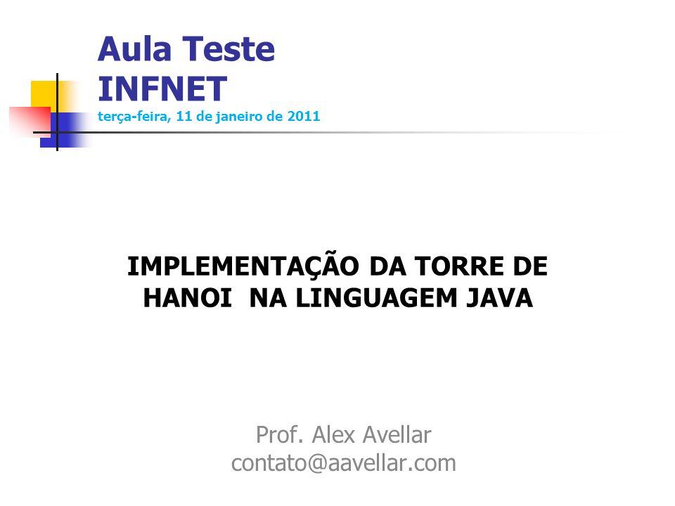 Aula Teste INFNET terça-feira, 11 de janeiro de 2011 Prof. Alex Avellar contato@aavellar.com IMPLEMENTAÇÃO DA TORRE DE HANOI NA LINGUAGEM JAVA