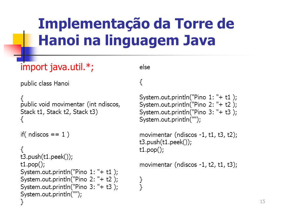 15 import java.util.*; public class Hanoi { public void movimentar (int ndiscos, Stack t1, Stack t2, Stack t3) { if( ndiscos == 1 ) { t3.push(t1.peek(
