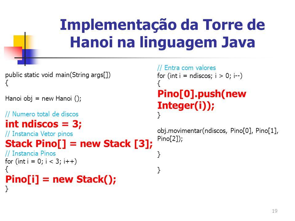 19 public static void main(String args[]) { Hanoi obj = new Hanoi (); // Numero total de discos int ndiscos = 3; // Instancia Vetor pinos Stack Pino[]