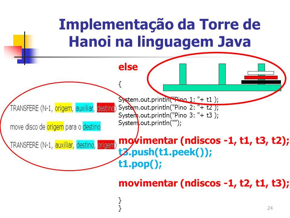24 Implementação da Torre de Hanoi na linguagem Java else { System.out.println(